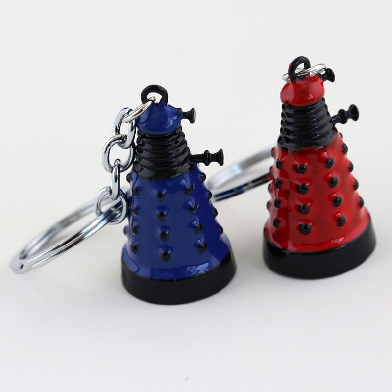 Hot Movie Mysterious Dr Doctor Who Dalek Keychain Keyring Fashion Retro Alien Robot Villain Blue Red Pendant Key Chain For Women image