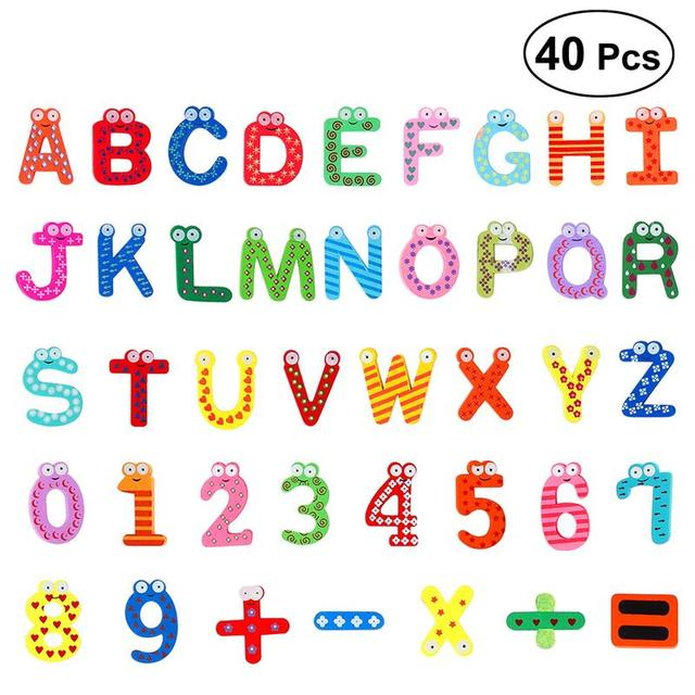 ounona wooden cartoon numbers fridge magnets lovely alphabet refrigerator magnet magnetic letters and numbers toys