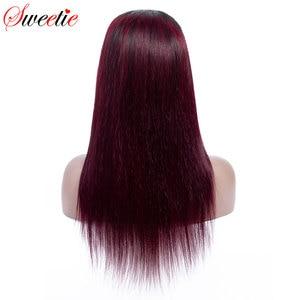 Image 4 - Sweetie 13X4 Ren Mặt Trước Con Người Tóc Giả Brasil Thẳng Ren Mặt Trước Tóc Giả 1B/99J/30 Remy tóc Ombre Tóc Giả Cho Nữ Màu Đen