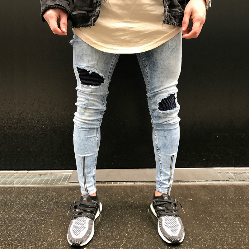 High Street Popular Snowflake Whitish Mens Jeans Washed Pleatea Spliced Hole Jeans Casual Mens Slim Fit Jogger Jeans 461