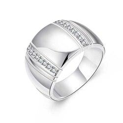Женское/мужское кольцо для влюбленных из стерлингового серебра 925 пробы CZ Кристал для свадьбы, помолвки, оптовая продажа, модные кольца на п...