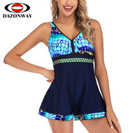 DAZONWAY New Printing Culottes Swimsuit Women Conservative Slim One piece Swimwear Female Sexy Siamese Swimming Pool Swimsuit XL