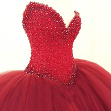 Doragrace Beaded V-Neck Sleeveless Lace-Up Princess Wedding Gowns Red Ball Gown Dresses