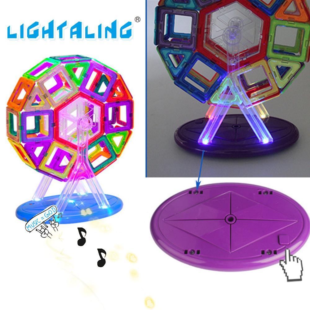 ФОТО Lightaling Magnetic Designer Building Blocks Toy Bricks 56pcs Windmill with Music & Light Electronic Toy