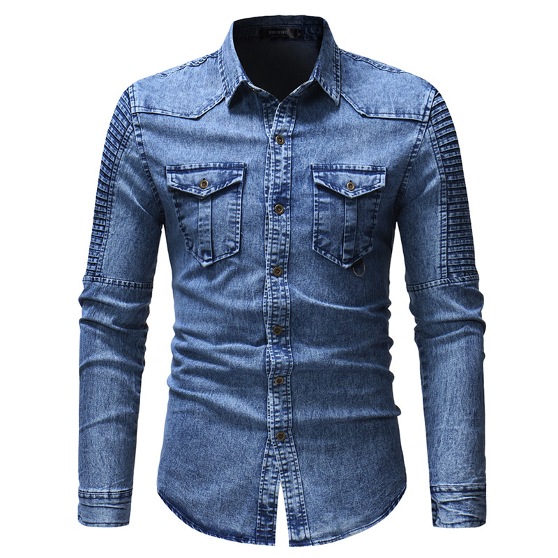 2020 Men's Spring And Autumn Washed Pleated Pocket Single-breasted Denim Shirt / Premium European And American Slim Long Sleeve