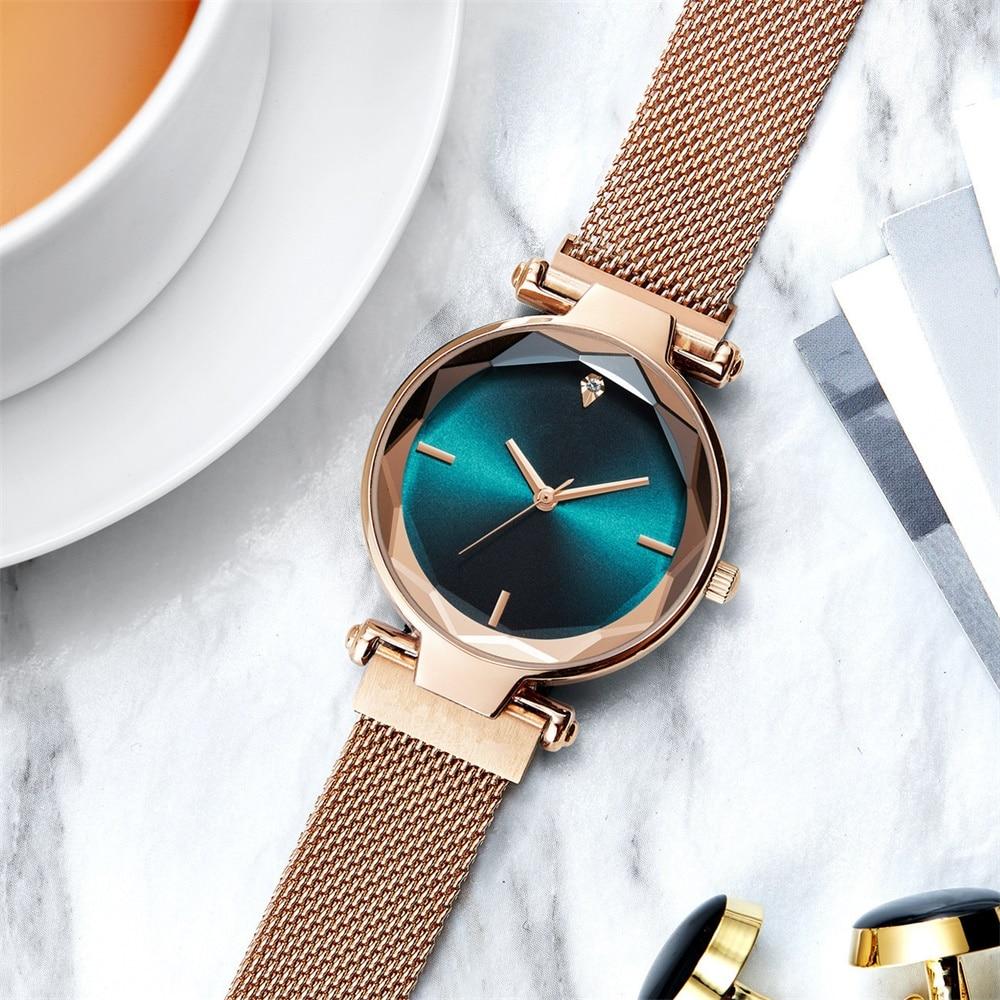 Luxury Fashion Magnetic Women Watches Rose Gold Stainless Steel Mesh Strap Ladies Quartz Wristwatches Minimalist Female Clock