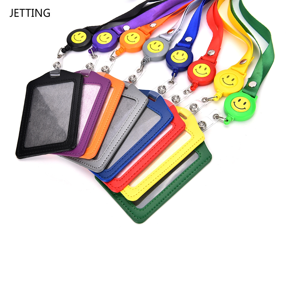 New ID Card Holder Smile Face Reel Lanyard Name Credit Card Holders Bank Card Neck Strap Card ID Holders Identity Badge