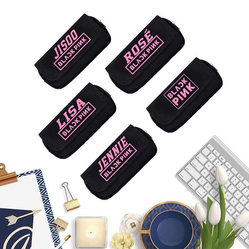 Bolsa de lápiz de lona cuadrada de color rosa Negro Bolsa de cosméticos de moda caja de monedas para estudiantes útiles escolares caja de papelería