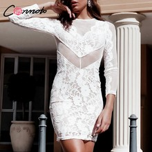Conmoto évider dentelle transparente robe blanche femmes fête Sexy robe Feminino Club Mini robes robes(China)