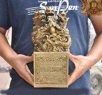 Свадебные украшения Китай Китайский Латунь Медный Зодиак животных 9 Статуя Дракона печать штамп с печаткой