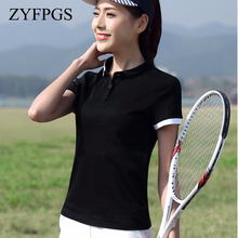 ZYFPGS 2019 New Summer Polos Mujer Lapel Casual Button Shirt M-4Xl Size Printing Pure Color Top Female Fashion L0519