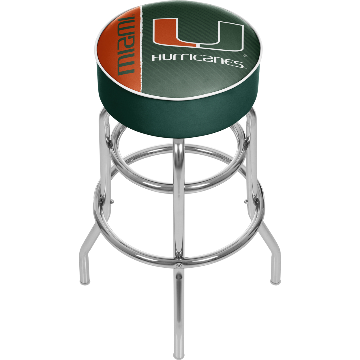 University of Miami Chrome Bar Stool with Swivel - Text ...