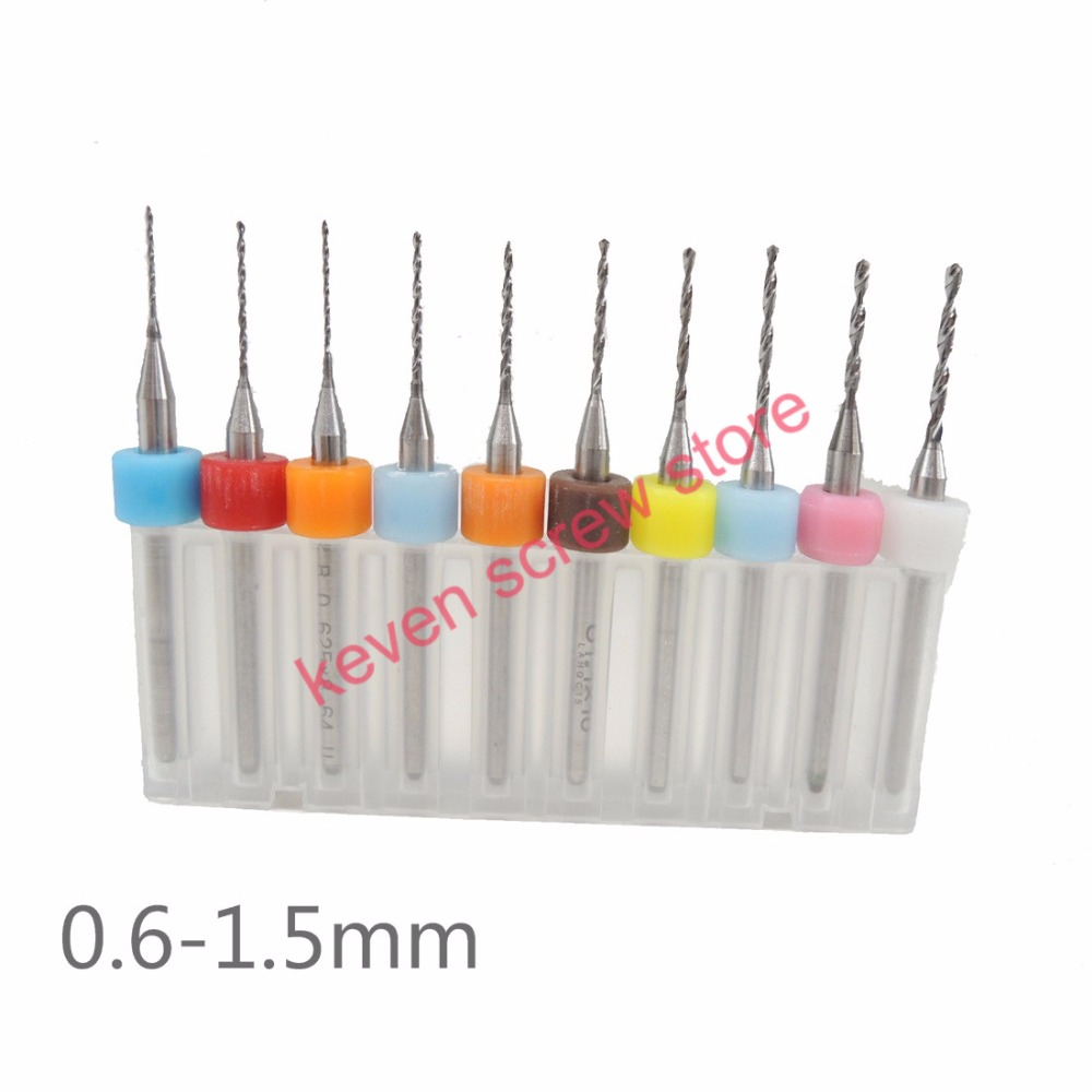 цена на Free shipping 10pcs/Set HighQuality Hard Alloy PCB Print Circuit Board Carbide Micro Drill Bits Tool 0.6 to 1.5mm for SMT CNC