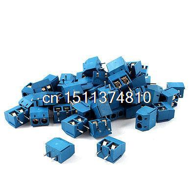 50 Pieces Straight 2 Pins 5mm Pitch PCB Board Screw Terminal Blocks Blue artevaluce светильник подвесной branch 20х20 см
