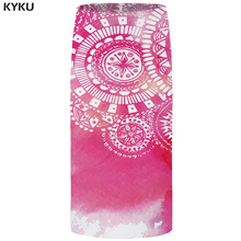 KYKU Brand Pattern Skirts Women Pink Vintage Office Skirt Sexy Casual Pencil 3d Printed Ladies Womens 2018 New Large Size