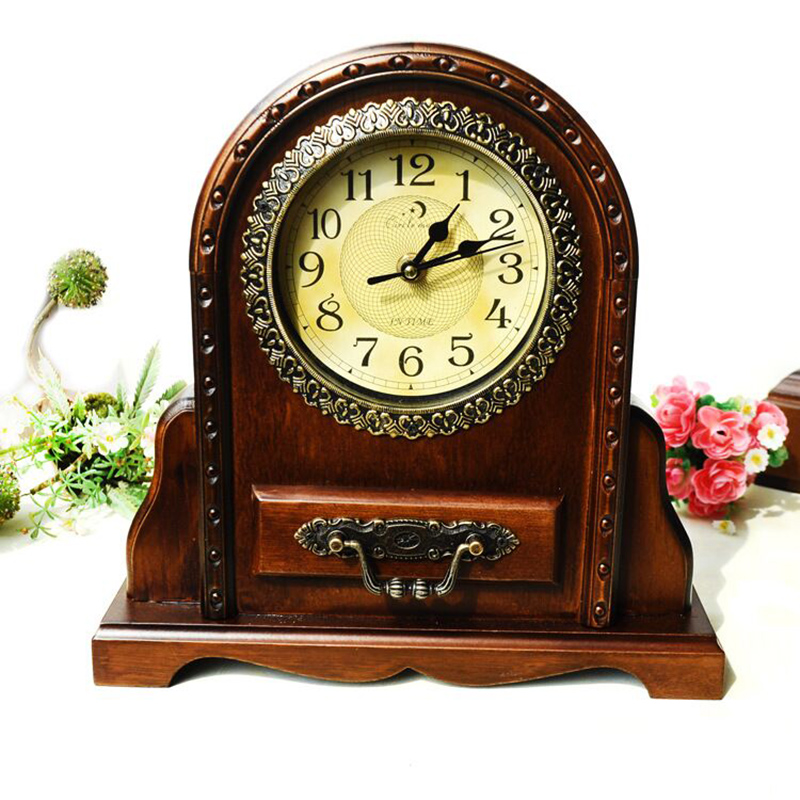 Creative Antique Wooden Clock Chinese Style House shaped Classical Retro Clocks Home Desktop Decoration Solid Wood Key Box Clock