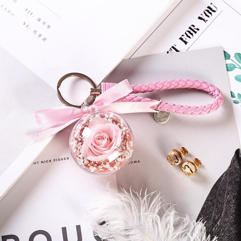 Новинка, красивая и чудовищная Роза в стеклянном куполе, светодиодный светильник, украшение для дома на День святого Валентина, рождественские подарки - Цвет: Pink Keychain