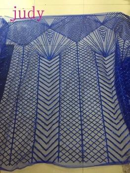 stock 5yards/bag  Blue check flash powder mesh fashion French style cloth for wedding dress festival celebrations  Free shipping