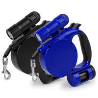3 In 1 Retractable Dog Leash With LED Flashlight And Bag Dispenser Flexible Adjustable 16 4