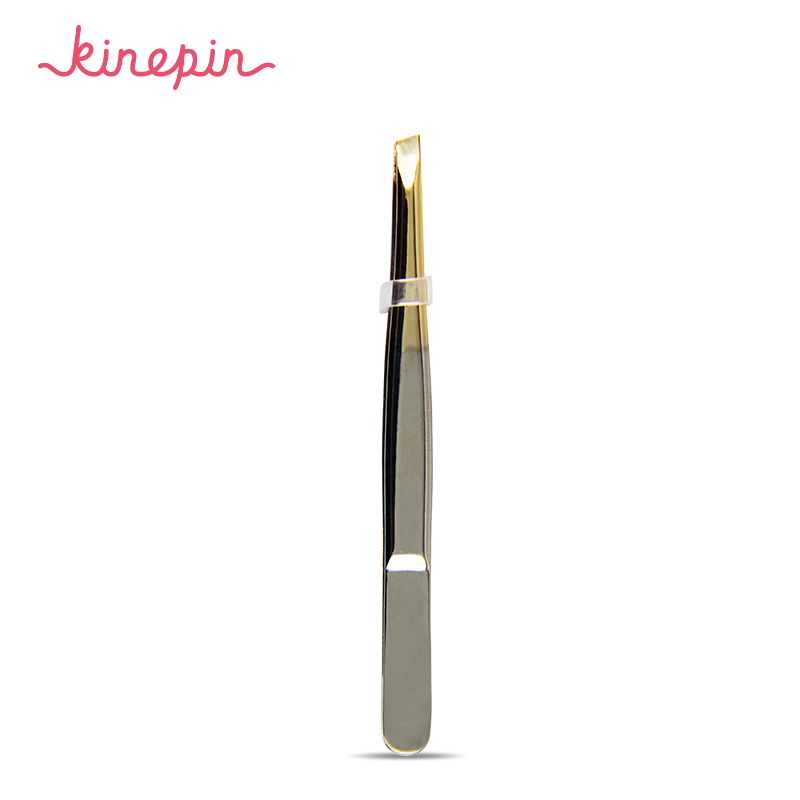 KINEPIN 1PC New Pro 24K Gold Women <font><b>Stainless</b></font> <font><b>Steel</b></font> <font><b>Hair</b></font> <font><b>Removal</b></font> <font><b>Eyebrow</b></font> <font><b>Tweezers</b></font> <font><b>Clip</b></font> Beauty Makeup Tools Slant Brow
