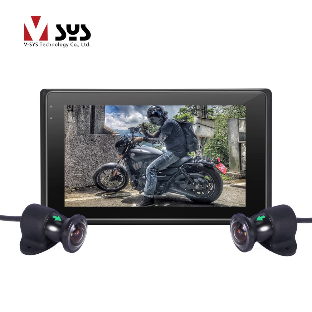 Vsys 170 degree X2 the most popular dual full HD wide angle lens motorcycle racing font