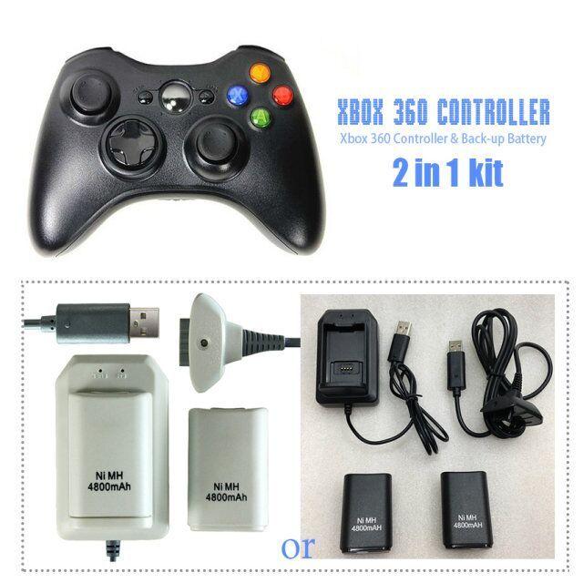 Беспроводной Контроллер Для XBOX 360 Пульта Беспроводной Геймпад Джойстик + Два 4800 мАч Аккумуляторных Батарей (Черный или Белый)