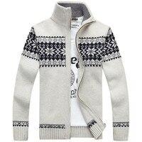 Новое поступление куртки мужские свитера зимние повседневные мужские свитера Теплая мужская молния Стенд воротник вязать свитера