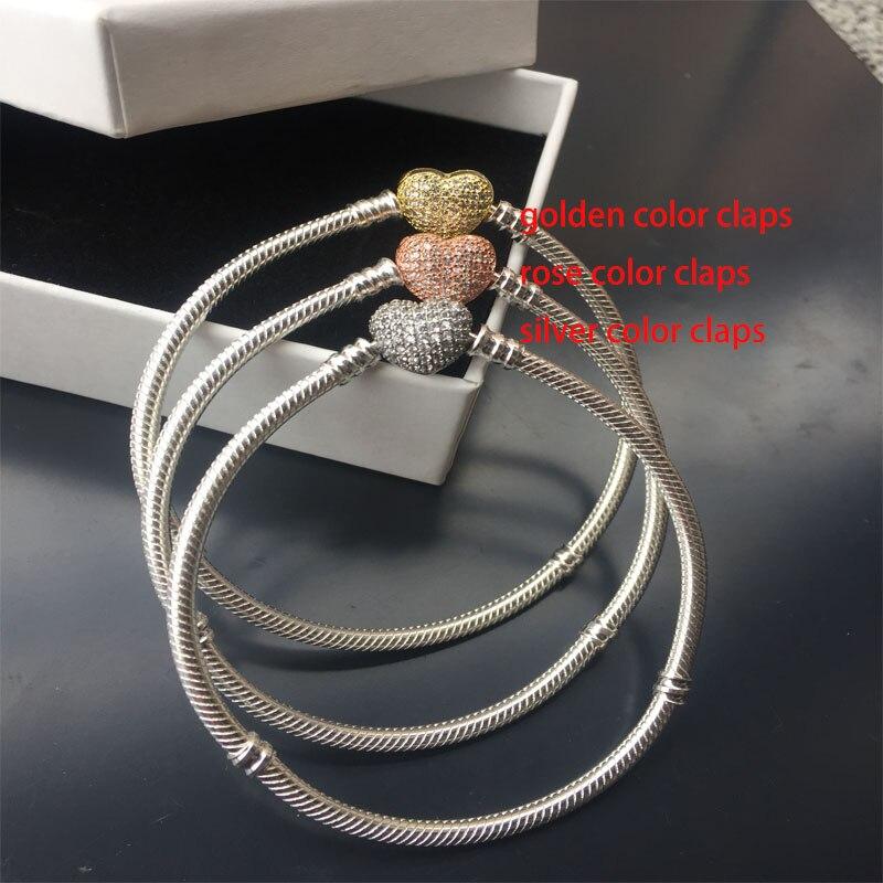 100% 925 Sterling Chaîne En Argent Bracelet Pour Les Femmes Fit Original Bracelets Perles Femmes Bijoux