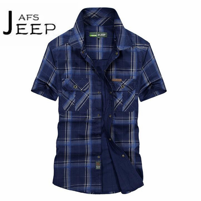 JI PU Casual Plaid Short Sleeve Armys shirt,Summer Mans Motorcycle Military style Leisure Shirt,workers working summer
