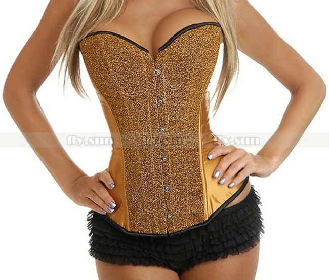 b08a21642a8 New Gold Sequin Burlesque Boned Overbust Outerwear Corset Bustier Sexy  Costume S M L XL 2XL