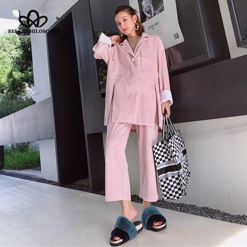 Wonder 2018 Nieuwe High Street Single Button Corduroy Blazer Broek Jas Office Lady Lange Mouwen Casual Coat Elastische Dames Suits Met Een Langdurige Reputatie
