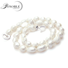 Genuine white baroque pearl necklace for women,Lager Natural freshwater baroque pearls necklace jewelry 10-11mm girl best gift jew2605 baroque white reborn keshi pearl necklace a0329