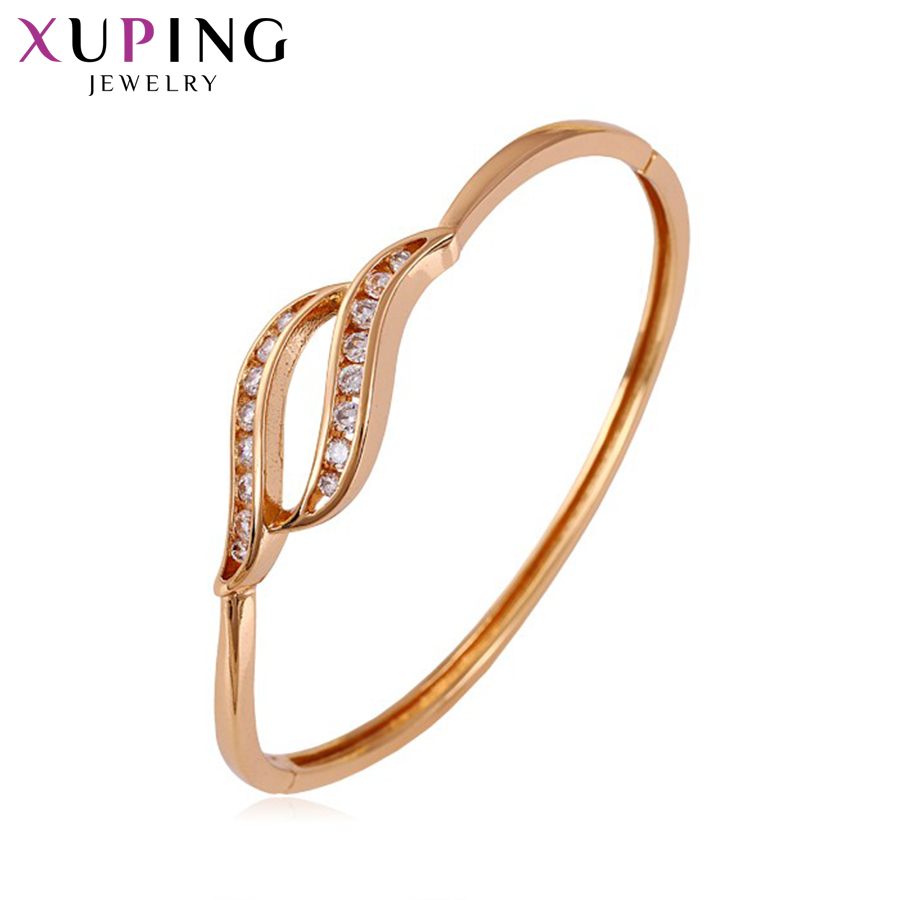Xuping Elegant Bangle Charm Design Rose gullfarget smykker for kvinner jente høy kvalitet gave S43-50092