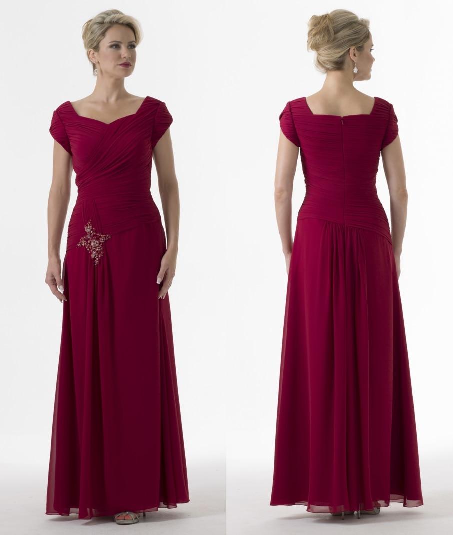 Online get cheap long modest bridesmaid dresses aliexpress dark red chiffon long modest bridesmaid dresses 2017 with cap sleeves pleats floor length a ombrellifo Choice Image