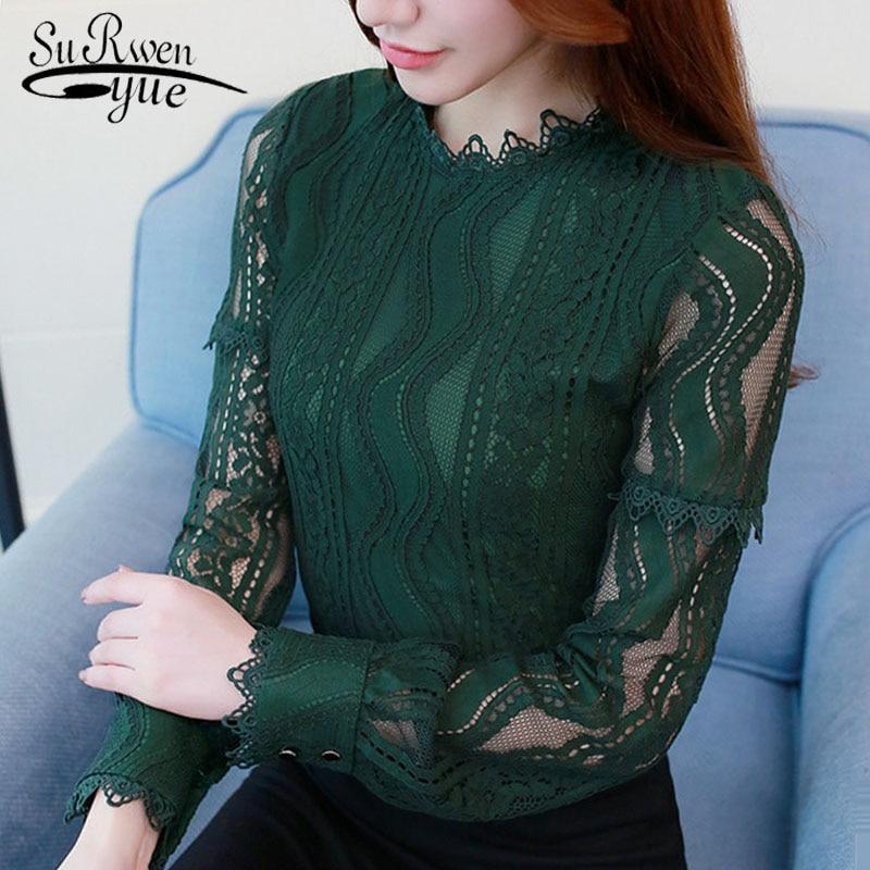2019 Fashion Women Blouse Shirt Green Color Long Sleeve Lace Women's Clothing Hollow Out Plus Size Feminine Tops Blusas C896 30