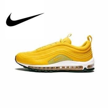 Original auténtico Nike W Air Max 97 full palm cushion zapatos para correr mujeres amarillo moda transpirable deportes zapatos 921733 701