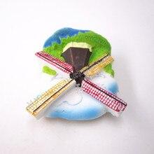 купить!  Голландия Голландия Голландия Ветряная Мельница Ручная Роспись Магнит На Холодильник Путешествия  Лучший!