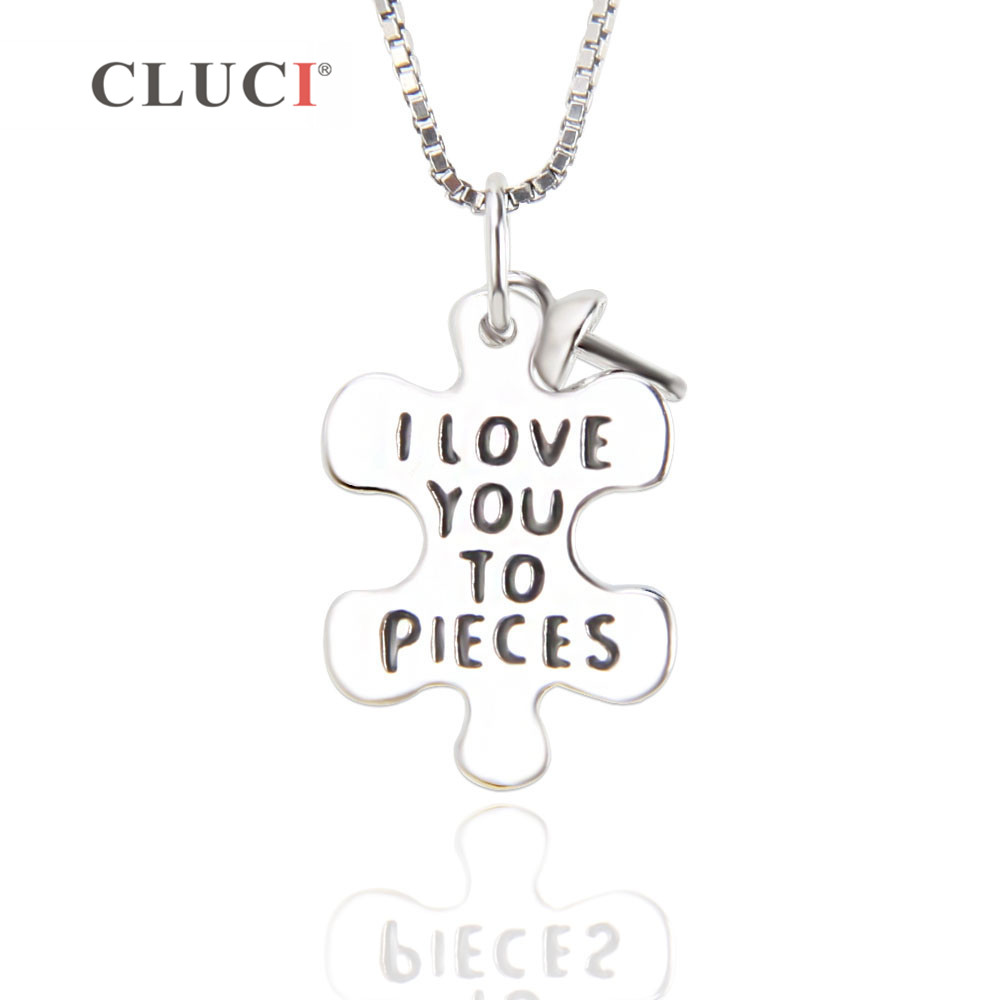 CLUCI Ture 925 Sterling Silver Sweet Words & Endless Love Nacklace Pendant Round Pearl DIY Pendant,can Stick Pearl