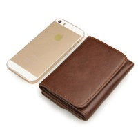 Genuine Leather Men Wallet Short Solid Wallets