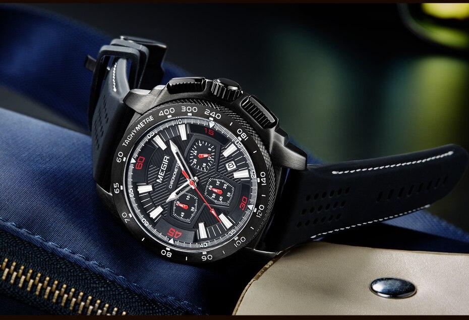 Topdudes.com - MEGIR Relogio Masculino Sport Fashion Silicone Quartz Watch