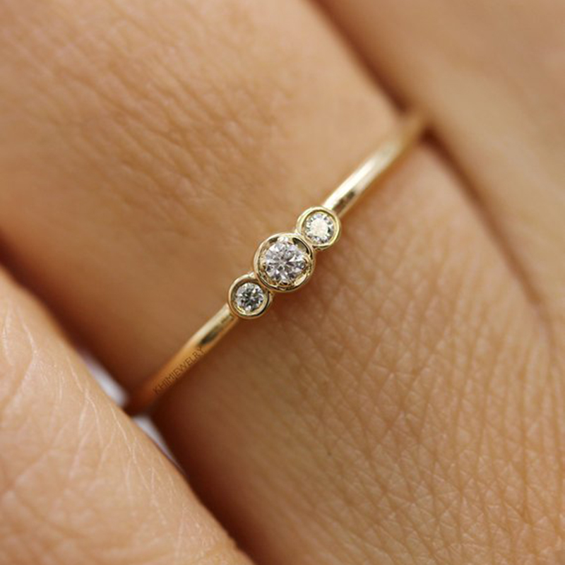 CUTEECO Wedding Ring For Woman Girl Thin Crystal Rings Anniversary Jewelry Simple Silver Rose Gold Color Small Cubic Zirconia in Rings from Jewelry Accessories