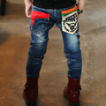 New Style  fashion boys jeans with print pocket New Spring Autumn kids Jeans For 2-13 Years Old Children Trousers