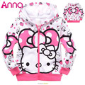 2016 Winter Girls  Hoodie Jackets Children's Coat cotton coats for children Clothes Kitty Hoodie Kids cartoon baby outerwear