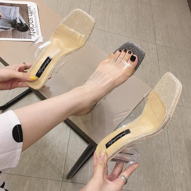 eb2c238f0c0 Clear Slides Female Summer 2019 Water Chunky Heel Leather Pvc Ladies Med  Heels Slippers Transparent New Spring Sandal PU High