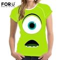 FORUDESIGNS 3D funny t-shirts cartoon monsters university print short sleeved tops tee Harajuku women's t shirt camisa masculina
