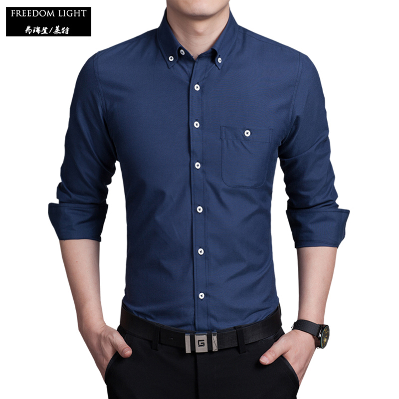 Top quality long sleeve men 39 s shirt slim fitness solid for Best mens dress shirts online