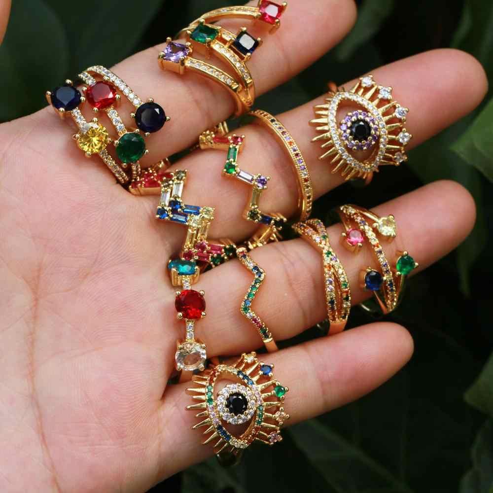 ฤดูร้อนสายรุ้ง CZ แหวน,ตุรกีตา,CZ STACK WAVE แหวน, แหวนที่แตกต่างกันสำหรับของขวัญสตรี Cubic zircon Gorgeous แหวนแฟชั่น