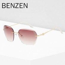 BENZEN Luxury Sunglasses Women Elegant Rimless Female Sun Glasses UV 400 Ladies Shades Accessories Black With Case 6195