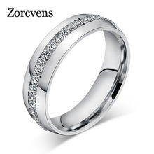 ZORCVENS 2019 New Fashion Crystal Rings for Women Gold Color Color Stainless Steel Jewerly Gifts(China)