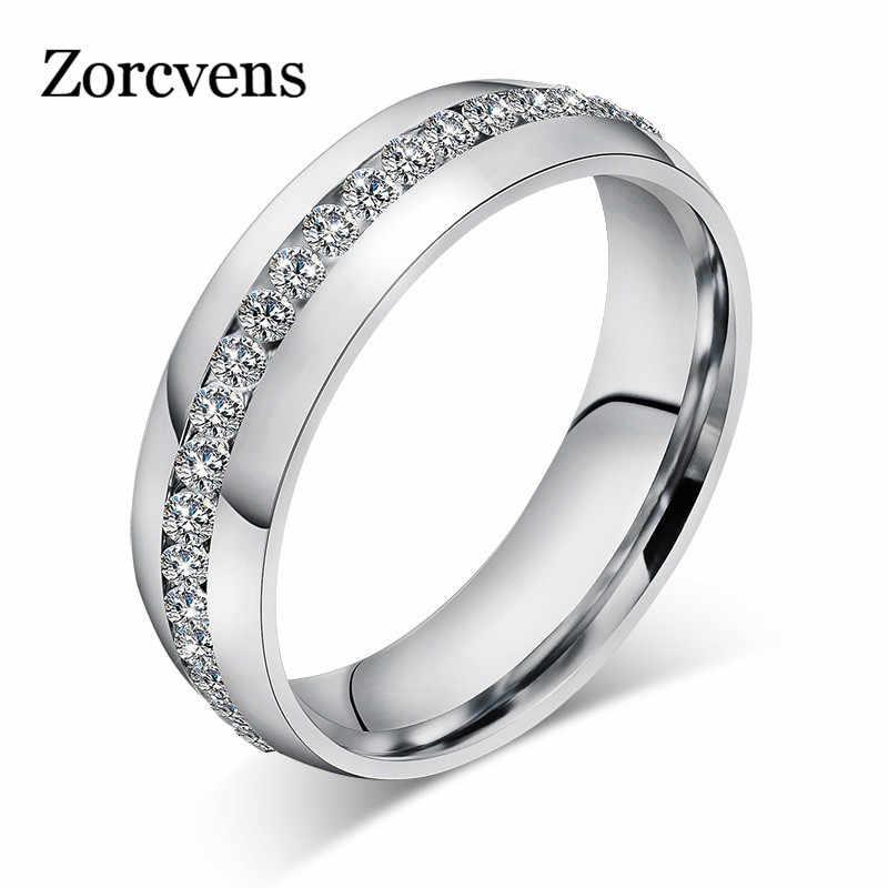 ZORCVENS 2019 ใหม่แฟชั่นคริสตัลแหวนทองสีสแตนเลสเครื่องประดับของขวัญ